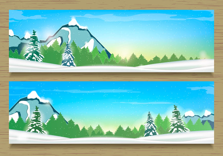 overlook: Two Banners with Winter Landscape and Snow Mountains. Winter Background. Vector. Illustration