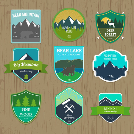 expedition: Set of outdoors adventure and expedition badges and labels