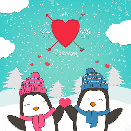 happy couple: Happy Valentines Day card with cute penguin couple. Vector illustration