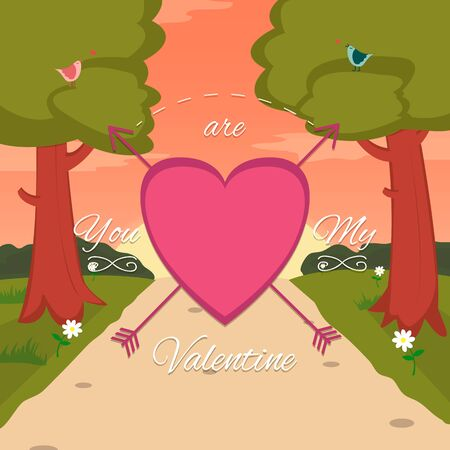 couple background: Happy Valentines Day card with cute bird couple Illustration