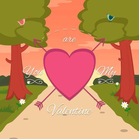 enamorados caricatura: Tarjeta feliz del d�a de San Valent�n con linda pareja de aves