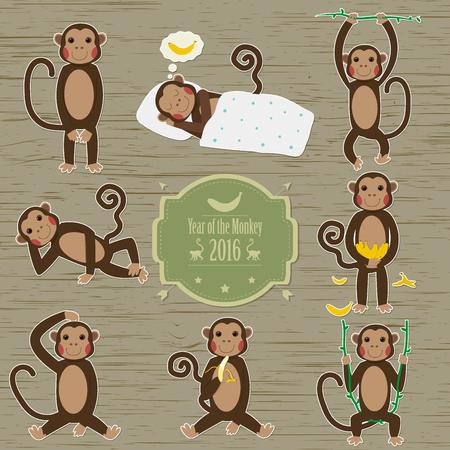 joking: Set of Chinese Zodiac - Monkeys. Vector illustration. 2016 New Year Symbol. Sitting Monkey, Dancing Monkey with Vntage Badges.