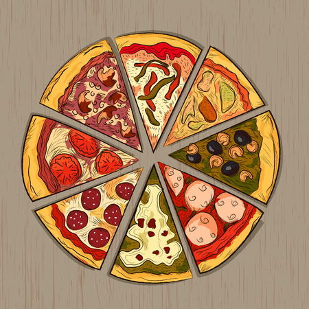 margherita: Pizza on a wooden background. hand drawn illustration. Vector