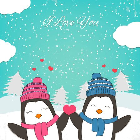 love bird: Happy Valentines Day card with cute penguin couple. Vector illustration