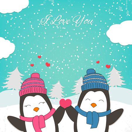 enamorados caricatura: Tarjeta feliz del d�a de San Valent�n con par lindo del ping�ino. ilustraci�n vectorial Vectores