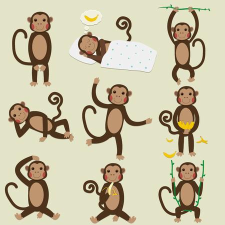 joking: Set of Chinese Zodiac - Monkeys. Vector illustration.