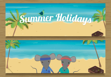 couple in summer: 2 Summer Holidays Banner with cute couple Mouse. Vector illustration Illustration