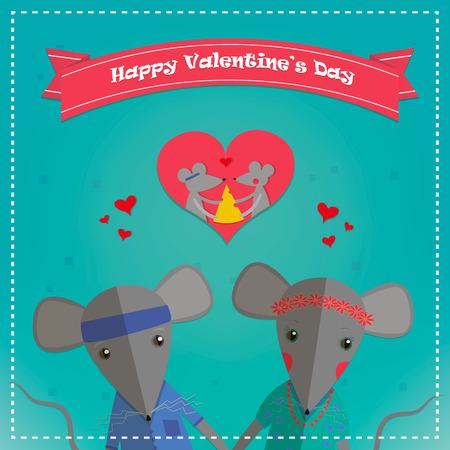 enamorados caricatura: Tarjetas de San Valent�n con el rat�n rom�ntica pareja. chico y chica del rat�n. ilustraci�n vectorial