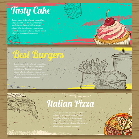 retro backgrounds: Three Food Banners for Advertising. Vector illustration