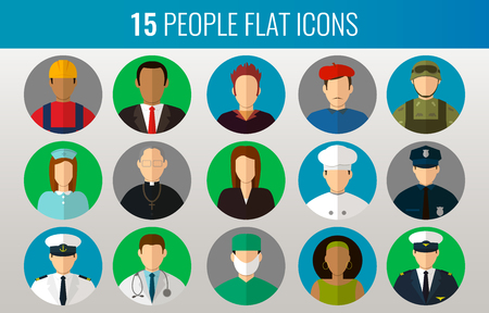 profesiones: Professions Vector Flat Icons. Signs, symbols set