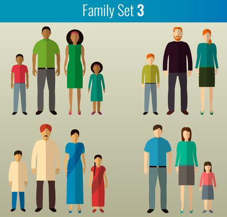 Family icons set. Multicultural society. Vector illustration