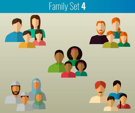icônes familiales définies. Société multi-culturelle. Vector illustration