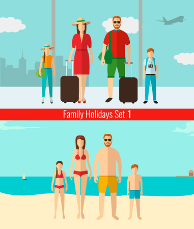 people traveling: People with kids traveling on vacation. Summer holidays. Vector Illustration