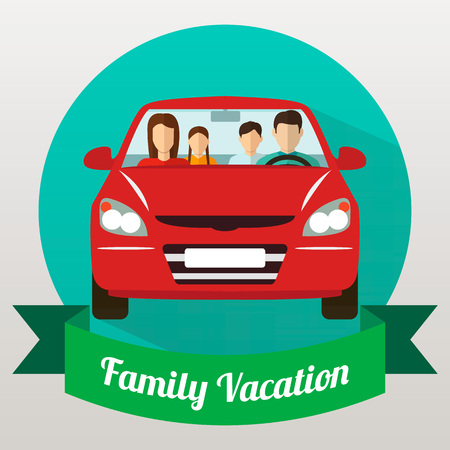family trip: Family trip by car. Family Holidays. Vector illustration