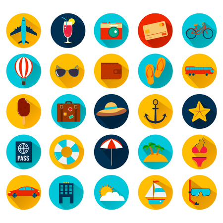 Summer holiday flat icons with long shadow. Vector illustration