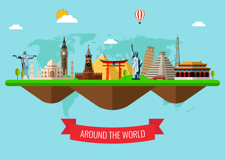 Travel and Tourism Background with Famous World Landmarks . Vector Illustration