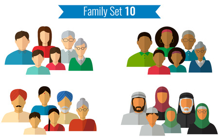 traditional culture: Family icons set. Traditional culture, national family. Vector illustration Illustration