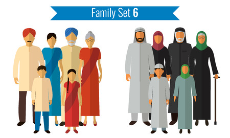 love couples: Family icons set. Traditional culture, national family. Vector illustration Illustration