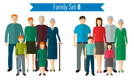 icônes familiales définies. La culture traditionnelle, la famille nationale. Vector illustration Vecteurs
