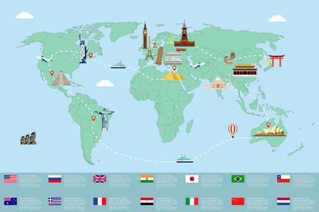 Infographic world landmarks on map.  Vector illustration