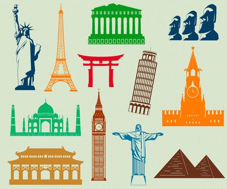 Sehenswürdigkeiten in aller Welt Silhouetten-Elemente. Vektor-Illustration