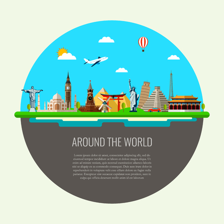 site map: Travel background with famous world landmarks icons. Vector Illustration Illustration
