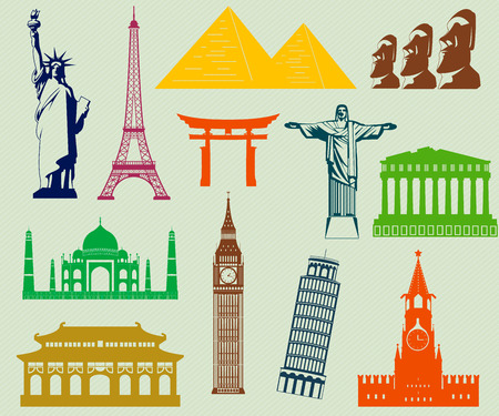 machu: World landmarks silhouettes elements set. Vector Illustration