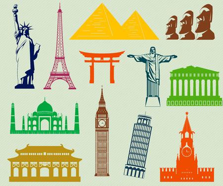 machu: World landmarks silhouettes elements set. Vector Illustration