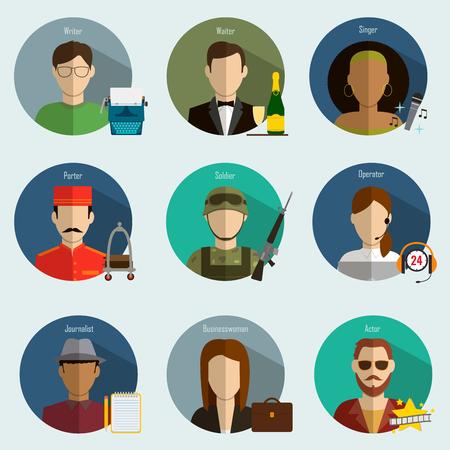 profesiones: Profesiones del vector planas Iconos.