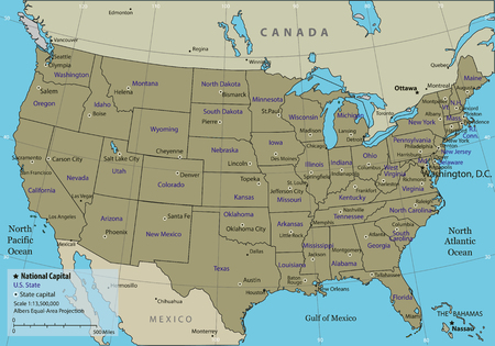 federal states: USA map with federal states. All states are selectable. Vector illustration