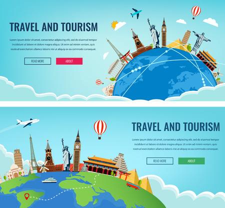 wanderlust: Travel composition with famous world landmarks. Travel and Tourism. Concept website template. Vector illustration. Modern flat design.