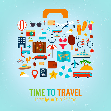 valigia: Viaggi di vacanza vacanze valigia. Viaggi e concetto di turismo. illustrazione di vettore