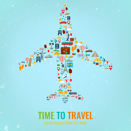 Airplane silhouette with travel flat icons. Travel and tourism concept. Vector 向量圖像