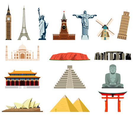 landmark: World landmarks. Famous world landmarks vector icons set.