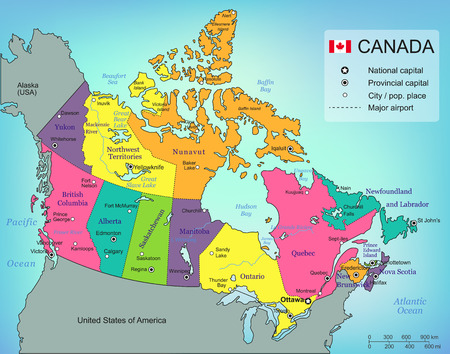 Canada map with provinces. All territories are selectable. Vector illustrtation