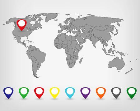 realist: World Map with Markers. Vector illustration