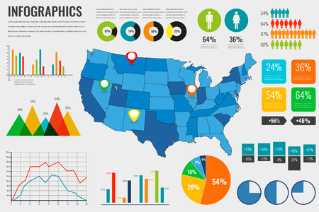 Usa map with Infographics elements. Infographics layouts. Vector illustration