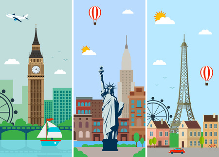 skylines: Cities skylines design with landmarks. London, Paris and New York cities skylines design with landmarks. Flat landscapes. Vector illustration. Illustration