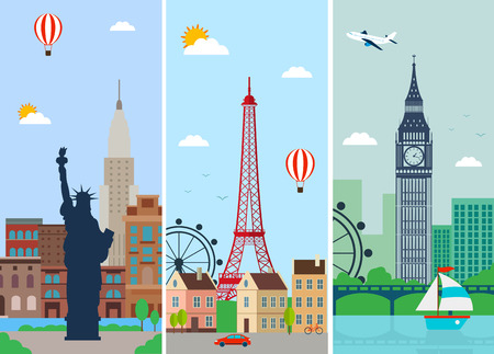 skylines: Cities skylines design with landmarks. London, Paris and New York cities skylines design with landmarks. Flat landscapes. Vector illustration Illustration