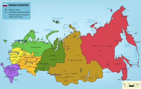 federation: Russian Federation map with selectable territories. illustration
