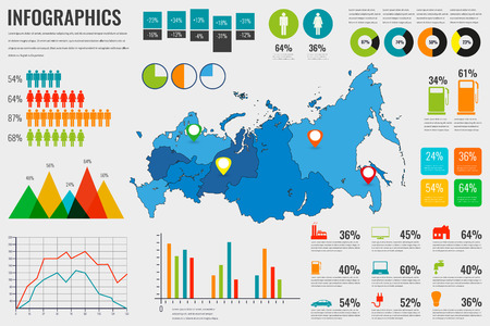 Russian Federation map with Infographics elements. Infographics layouts. illustration