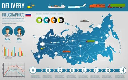 federation: Russian Federation transportation and logistics. Delivery and shipping infographic elements. illustration
