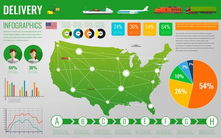 USA transportation and logistics. Delivery and shipping infographic elements. Illustration