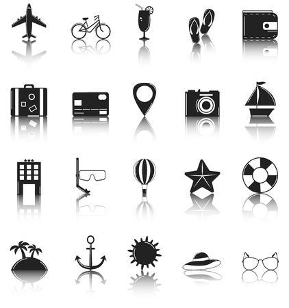 sandal tree: Summer flat icons set. Summer holidays. Vector illustration
