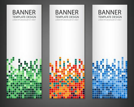 Astratto pixel quadrati mosaico set banner. banner verticale. illustrazione di vettore