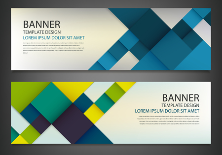 Two banners with colorful squares. Business design template. Horizontal banners vector set. Illustration