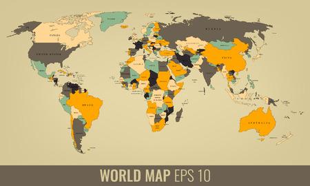 High Detail World Map. Vector illustration