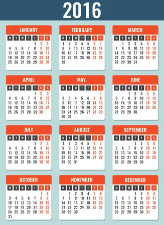 starts: Calendar for 2016. Week Starts Monday. Simple Vector Template Illustration