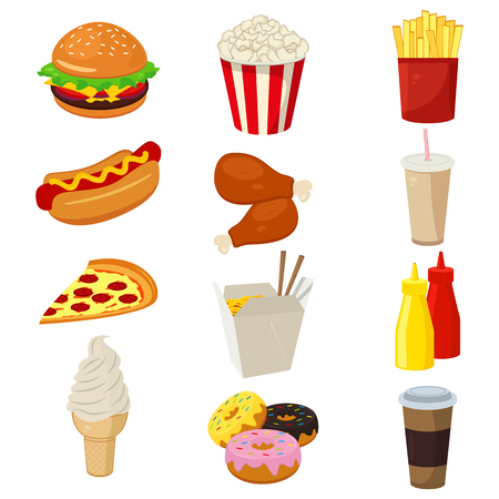 dough nut: Set of colorful cartoon fast food icons isolated on white. Vector illustration
