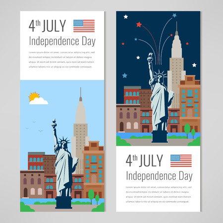 4th of July celebration. New York city for Independence Day of America. Vector illustration